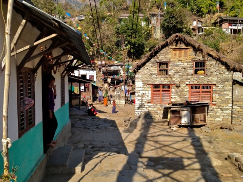 Small village of Khudi (790m) on the to Bhulbhule (840m)