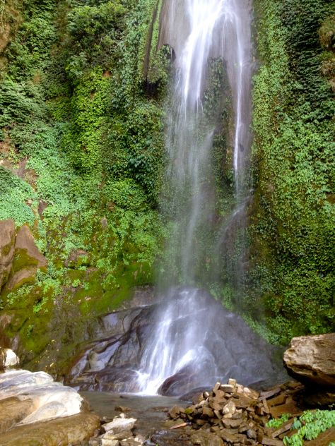 Beautiful waterfall on the way from Bhulbhule - Ngadi surrounded by jungle plant.