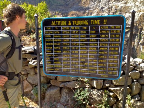 We studied this ACAP (Annapurna Conservation Area Project) sign for a while at the peak.