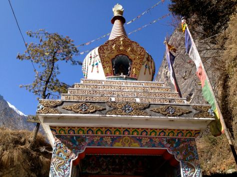 The only really well kept buildings in the mountains were the Stupas. This is a particularly beautiful example with an amount of detail that reminded me of the decorations of catholic churches