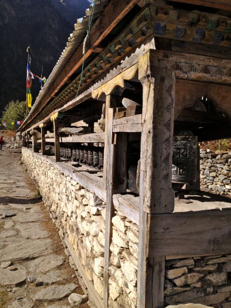 Always remember to walk past the left side of the prayer wheels. One has to turn the clockwise in order not to undo previous prayers.