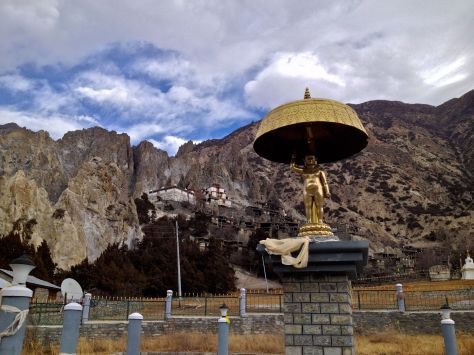 This statue was apparently flown in by helicopter. We were told many pilgrims gathered in Bargha for the event.
