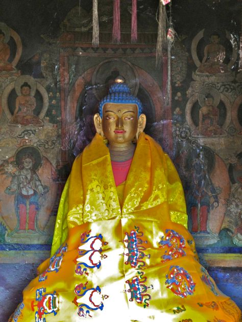 Unfortunately there were no munks to open the doors to the Gompa (it was too cold), but on the top one could open a small door and find this statue of Buddha inside.