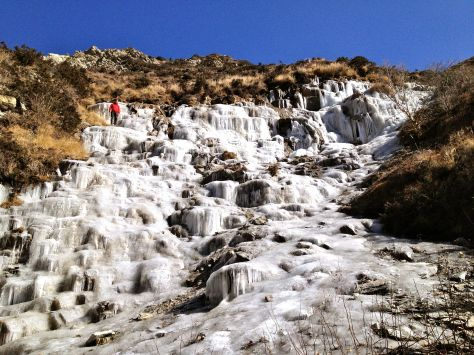 Entirely frozen waterfall with Mees in top left corner.