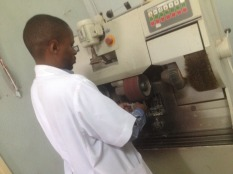Samson from the orthopaedic department at KCMC is preparing a new piece for an infant incubator that we have been working on.