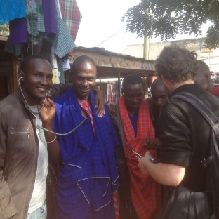 We were looking for materials to make new earbuds for stethoscopes when we met these Masaai who wanted to try them. This man to the left had an amazing expression hearing his friends heartbeat.