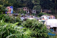 Road-side village on the.