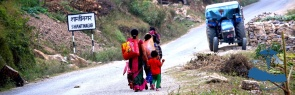 Local family walking to the nearby village.
