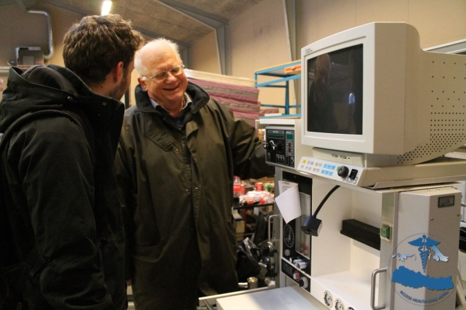 Mr. Hans Frederik Dydensborg, president of GMA, myself and an anaesthesia machine