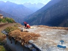 Drying crops on the roof top