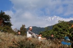 Myself, Mr. Chandra Malla, Justin Jung Malla and Rajkumar Silwal relaxing at the viewpoint out side Bhattechaur