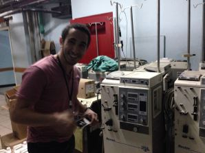 Muhammed from my group at Roosevelt Hospital with 14 Haemoadialysis machines, all out of order.
