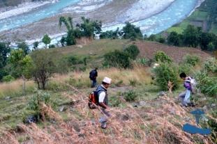 Climbing down to Bheri River, dangerous, steep roads