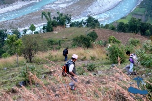 Climbing down to Bheri River, dangerous, steep roads