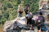 Me, Chandra MAlla, Saujan and Justin trekking.