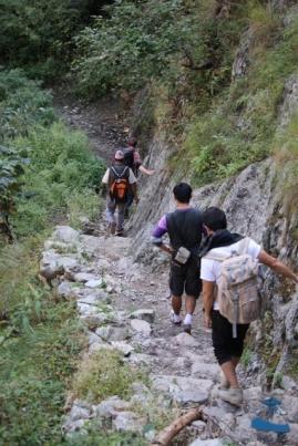 Me, Justin, Saujan, Mr. Chandra Malla Trekking on the Dangerous roads of Rukum