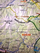 Map of Rukum Nepal where we were trekking for 14 hours