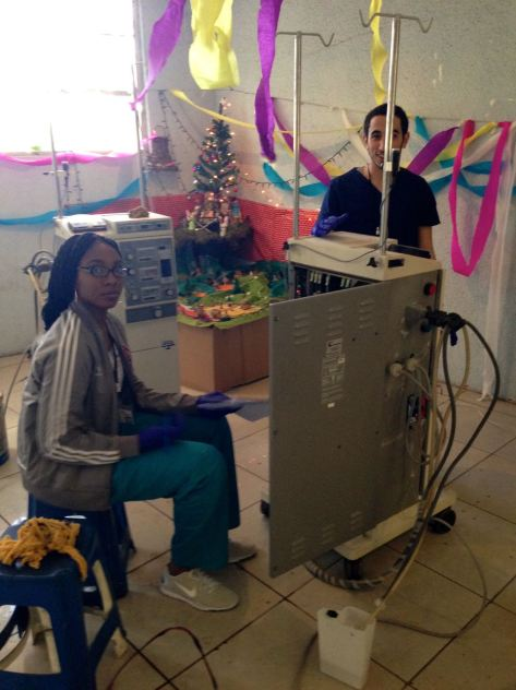 Chancy with one of the dialysis machine.